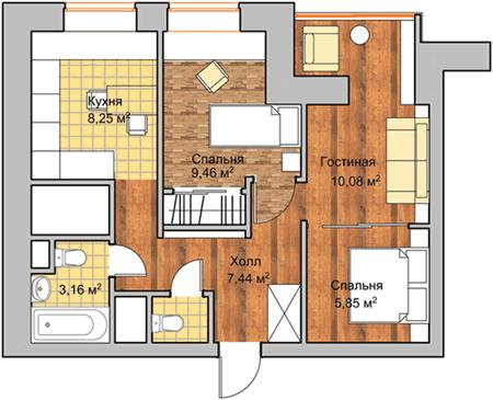 2-комнатной квартиры в ЖК