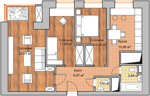 3-комнатной квартиры в ЖК